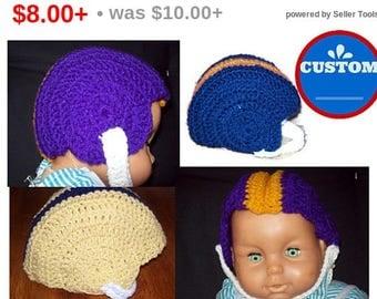Crochet Football Helmet Made To Order Available In 3 Sizes Baby Football Helmet Toddler Football Helmet