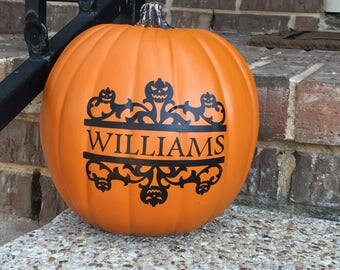 Personalized Pumpkin Decal ~ Halloween Decal ~ Jack O Lantern Decal ~ Pumpkin Stickers ~ Pumpkin Monogram Decal ~ Holiday Decor ~Porch Decor