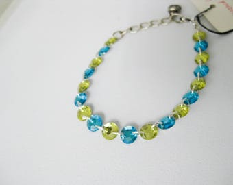 Upcycled Plastic Rhinestone Chain Link Bracelet, Blue Yellow