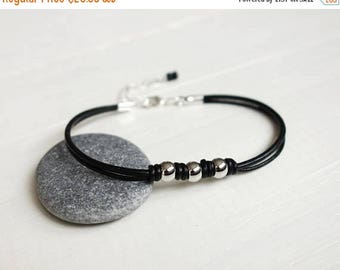 Summer Sale Black leather bracelet knotted leather bracelet metal beads black leather cords bracelet for men for women