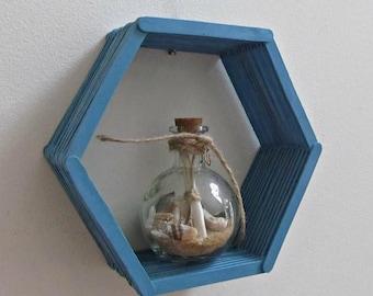 ON SALE Blue Honeycomb Shelf - Teal Blue Hexagon Popsicle Stick Shelf