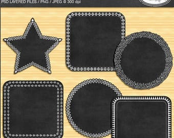 65%OFF SALE Digital chalkboard frame template, PSD template, Photoshop template, layered frame template, chalkboard frame clipart, F329