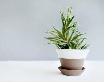 "6"" Ceramic Flower Pot w/ Saucer - Ceramic Planter - Plant Pot - Garden Pots - Herb Pots"