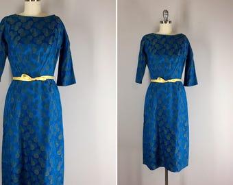 1950s Vintage Dress / 50s Jacquard Print Dress / Starry Night Dress