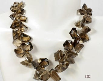 ON SALE Light Smoky Quartz Briolettes Mixed Shapes Fancy Cut Stones Geometric Shapes Concave Back Mined Gems - 19 Beads - 11 x 9 to 17 x 13m