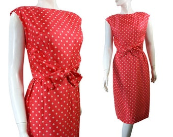 Vintage SILK Bright Salmon and White Polka Dot sexy wiggle Dress by Weber & Franks Originals