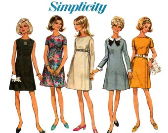 Butterick 7748 Womens A Line Dress Detachable Collar & Cuffs 1960s Vintage Sewing Pattern Size 10 Bust 32 1/2 inches