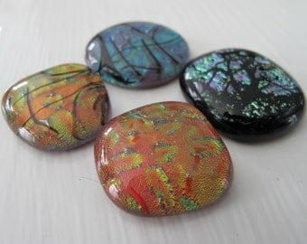 Four Assorted Freeform Dichroic Glass Cabochons