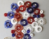 Blue, White and Red Glass Beads, FREE SHIPPING,Set of Handmade Lampwork Flower, Disc and Spacers Beads - Rachelcartglass