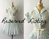 RESERVED LISTING -- Vintage 1950s Dress - 50s Strawberry Print Dress - Novelty Blue Berry Sundress