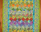 """Art Deco Paisley Quilt, Blue Orange Yellow Purple Fabric Wall Hanging Textile, Watercolor Quilt 20x37"""" Handmade"""