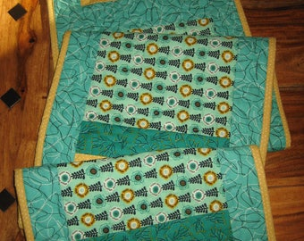 "Quilted Table Runner, Modern Aqua Gold Green Contemporary, 100% Cotton Fabrics, Reversible, 13.5 x 56"" Handmade Free Shipping"