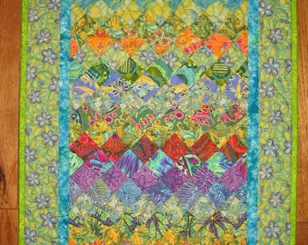 """Art Deco Paisley Quilt, Blue Orange Yellow Purple Fabric Wall Hanging Textile, Watercolor Quilt 20x37"""" Handmade Free Shipping"""