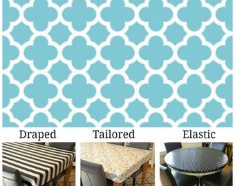 Oilcloth aka laminated cotton heavyweight tablecloth pick fitted by TAILORING or fitted by ELASTIC or DRAPED, Aqua and ivory quatrefoil