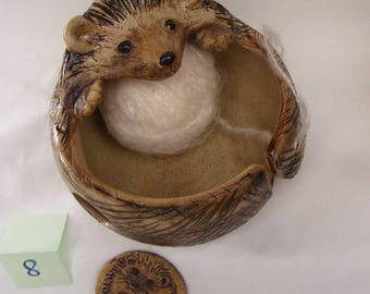 Stoneware  Hedgehog Yarn Bowl No.8 Comes With A Button Gift
