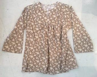Vintage 1970's Boho Floral Cotton Blouse