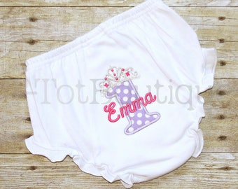 1st Birthday Party Cake Smash Girl Embroidered Diaper Cover Bloomers Princess Birthday Tiara Number One Photo Prop - FREE PERSONALIZATION
