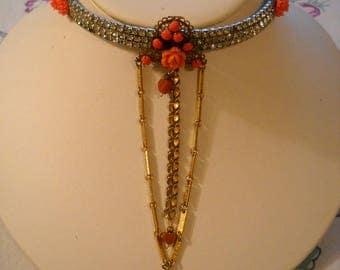 Repurposed Vintage Necklace Flowers Enamel Rhinestones Milk Glass FREE SHIPPING