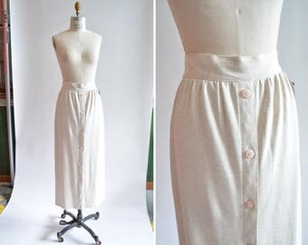 Vintage 1980s CREAM stretch jersey maxi skirt