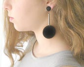 Big orb earrings, Black Hanging disc dangle Summer party earrings modern geometric Jewelry for her