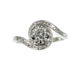 ON SALE Diamond Halo Engagement Ring, Platinum Ring, Unique Ring, Vintage Engagement Ring, Halo Diamond Ring Vintage Wedding Jewelry