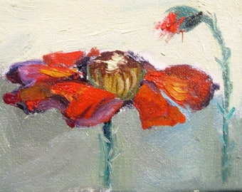 Poppy aceo artist trading card miniature original floral oil painting Art by Delilah