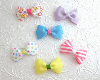 Baby Toddler Hair Bow Set ~ Simple Baby Girl Hair Bows ~ Summer Set of 6 Hair Bow Clips
