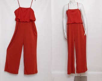 vintage 70s jumpsuit plus size | burnt orange
