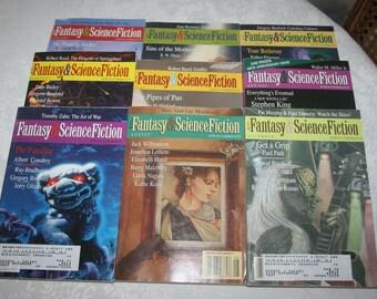 1997 Nine 9 Vintage Fantasy & Science Fiction Magazines Sci Fi Fantasy Science Fiction