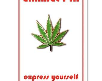 Pot Leaf Enamel Lapel Pin