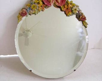 Vintage Barbola Gesso Flowers Mirror/1930's English Barbola Gesso Mirror