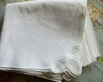 12 vintage battenburg lace napkins - cotton, white, new, unused