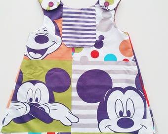 12 months size 1 baby toddler a line shift dress. Mickey Mouse. Disney. Disneyland. Disneyworld. 60s. Aline. Purple. Club house.