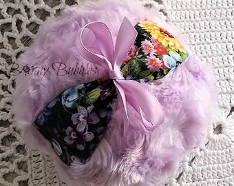 ORCHID PURPLE Powder Puff with floral finger grip- soft bath pouf - 4 inch - gift box option - handmade by Bonny Bubbles
