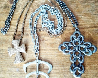 Vintage SARAH COVENTRY set Leaf Mid Century Cross Necklace Lot