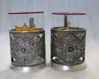 2 Vintage Antique Russian Tea Glass Holder - Podstakannik - Filigree - Silver Plated Copper -  - from Russia / Soviet Union