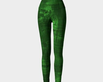 Green Yoga Pants Design Colorful Bright Bold Graphic Pattern Size XS S M L XL Active Wear Gym Leggings