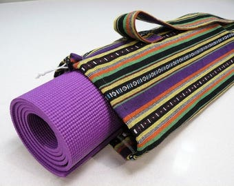 NEW XL Yoga Bag - Exercise mat bag - purple green black orange and yellow striped with Large pocket