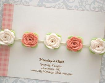 Felt Flower Crown, Baby Flower Crown, Felt Flower Headband, Felt Flower Garland, Vintage Pink Flower Crown, Newborn/Toddler/Baby Headband