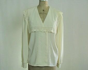 Vintage Romantic Blouse Lace Long Sleeves Lee Mar size 12