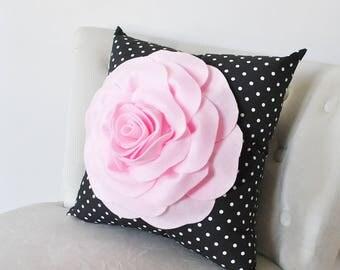 Black Pillow Cover. Light Pink Rose Small Black and White Pillow-Black Polka Dot Pillow Cover, Birthday, Nursery, Home Decor, Rose Flower