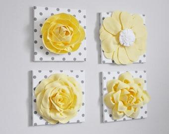 Yellow Flower Garden Wall Set- Flower Collage -Choose Your Colors - Yellow Art- Spring Flower Garden Art- Pastel Yellow- Nursery Wall Art