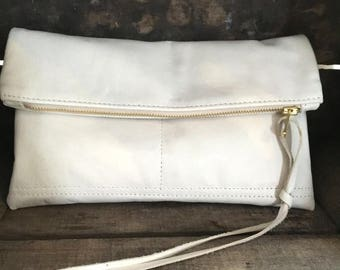 summer sale Supple White Leather Fold over Clutch - Small white leather clutch - white Leather cosmetics clutch - cross body clutch - weddin