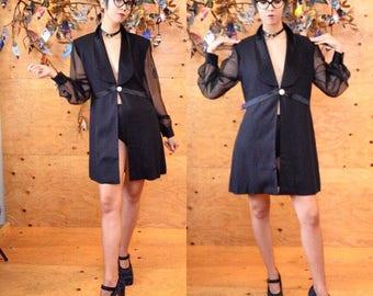 vintage 90's tuxedo shirt dress duster sheer sleeves M medium glam 90's pop star vibes madonna truth or dare vogue club kid rupaul