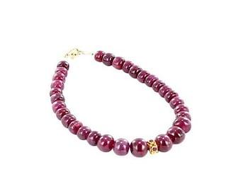 20% Off Sale : ) 18K GOLD RUBY BBracelet Rondelle beads New World Gems