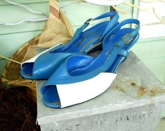 Blue and White Summer Shoes Vintage Peep Toe Shoes Open Toe Shoes Wedge Shoes Women's Vintage Summer Shoes Wedge Heel