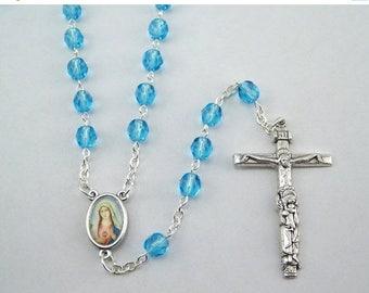 Light Blue Sacred Heart Immaculate Heart Rosary (88)