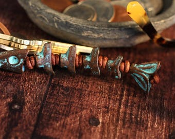 Key Ring Key Fob Key Chain Key Holder Fish Fisherman Worry Beads Copper Patina Dads Keys Fathers Day Present Gift For Him Under 30 Leather