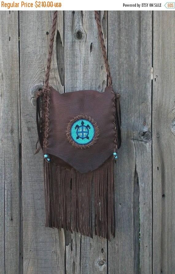 ON SALE Leather handbag , Beaded leather crossbody handbag , Fringed leather shoulder bag , Turtle totem bag , Designer Handbag