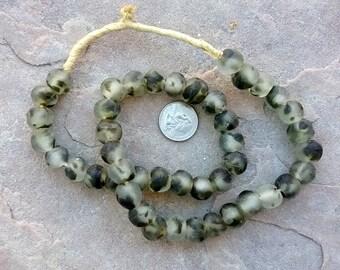 Ghana Glass Beads: Camouflage Green 15mm